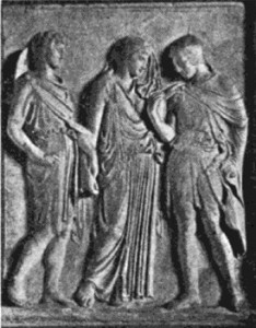 Relief Representing Hermes, Eurydice, and Orpheus. Naples.